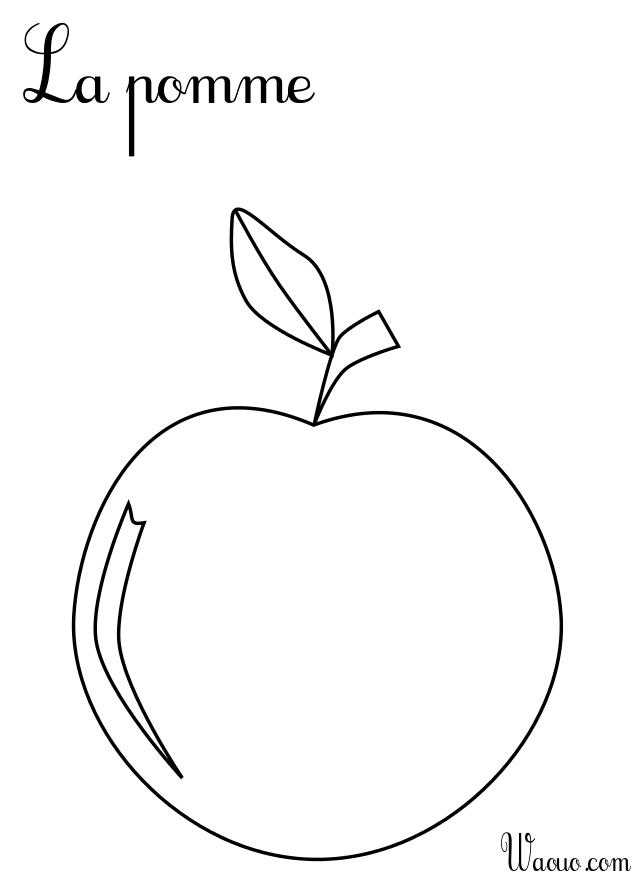Coloriage la pomme imprimer et colorier - Dessin pomme a colorier ...