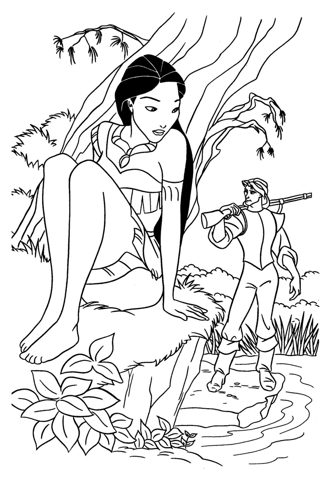 Coloriage Princesse Pocahontas Disney à imprimer et colorier