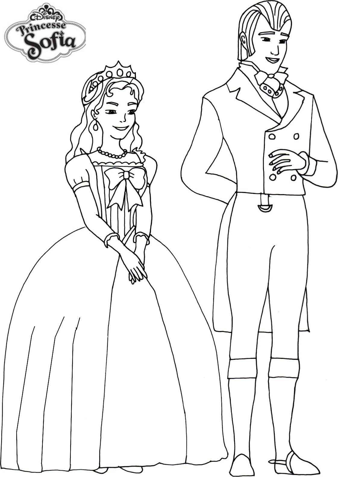 Coloriage De Prince Et Princesse A Imprimer.Coloriage Princesse Sofia Et Prince A Imprimer Et Colorier