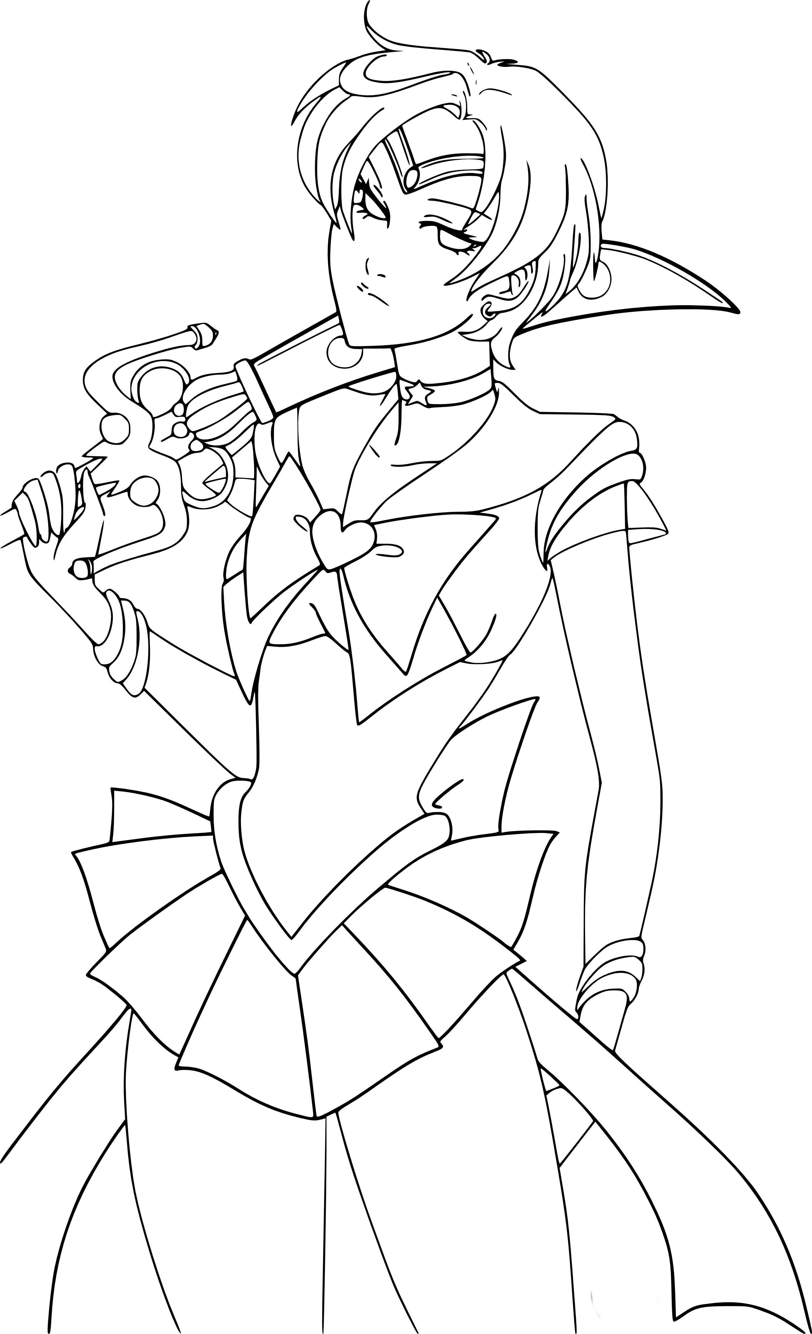 Coloriage Manga Fille Et Garcon.Coloriage Sailor Uranus A Imprimer Et Colorier