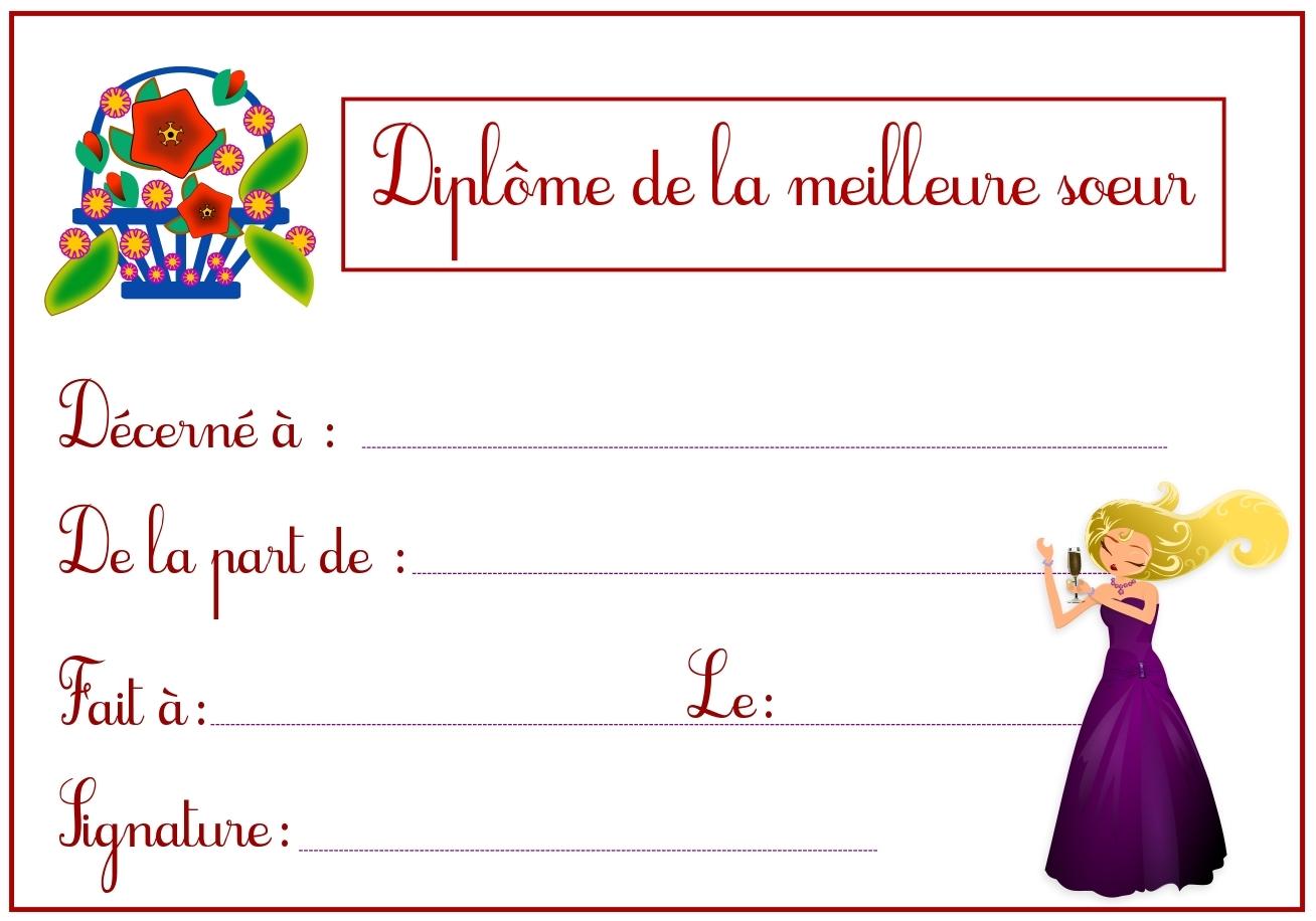 Diplome dela meilleure soeur - Diplome de cuisine a imprimer ...
