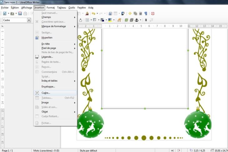 Insertion d'un cadre texte dans LibreOffice