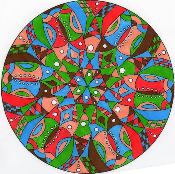 Mandala difficile couleur
