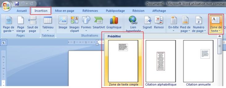 Insertion d'une zone de texte dans un document word