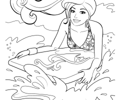 Coloriage Barbie surf