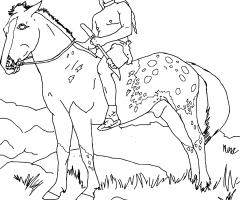 Coloriage indien cheval