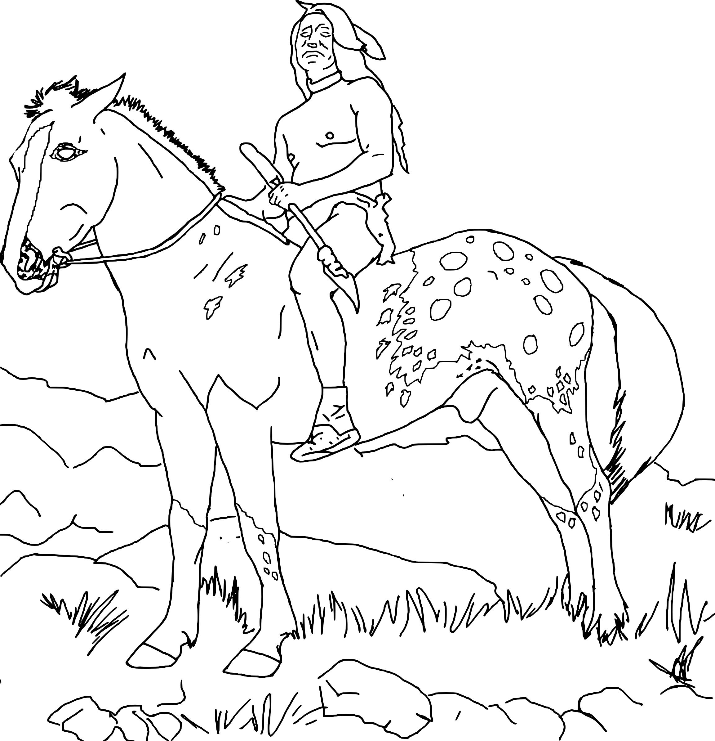 Coloriage Cheval Indien.Coloriage Indien Sur Un Cheval A Imprimer Et Colorier