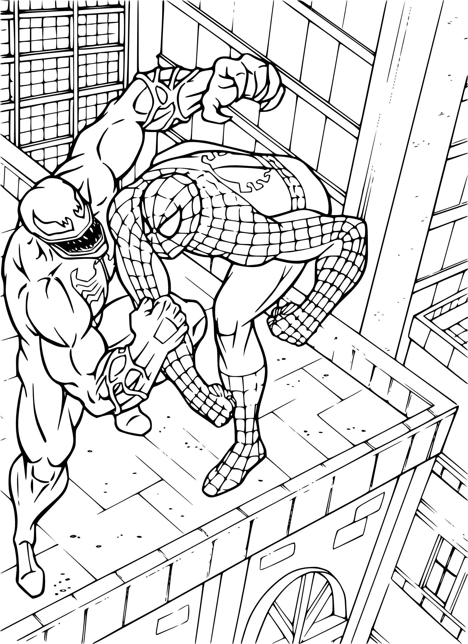 Coloriage Spiderman Contre Venom à Imprimer Et Colorier