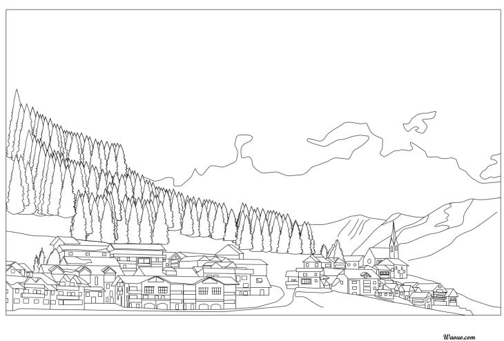 Coloriage village noel