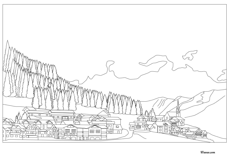 Coloriage paysage de no l imprimer et colorier - Coloriage village de noel ...