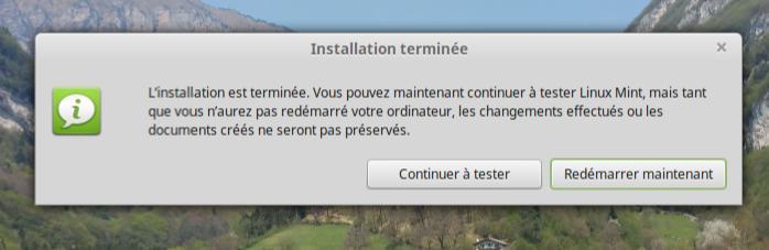 Linux Mint installation terminée