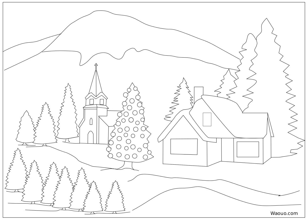 Coloriage paysage hiver de noel a imprimer et colorier - Coloriage village de noel ...