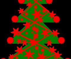 Un sapin de Noël décoré en rouge