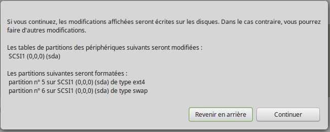 Linux Mint table des partitions