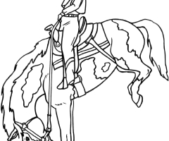 Coloriage cowgirl cheval