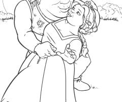 Coloriage Fiona et Shrek
