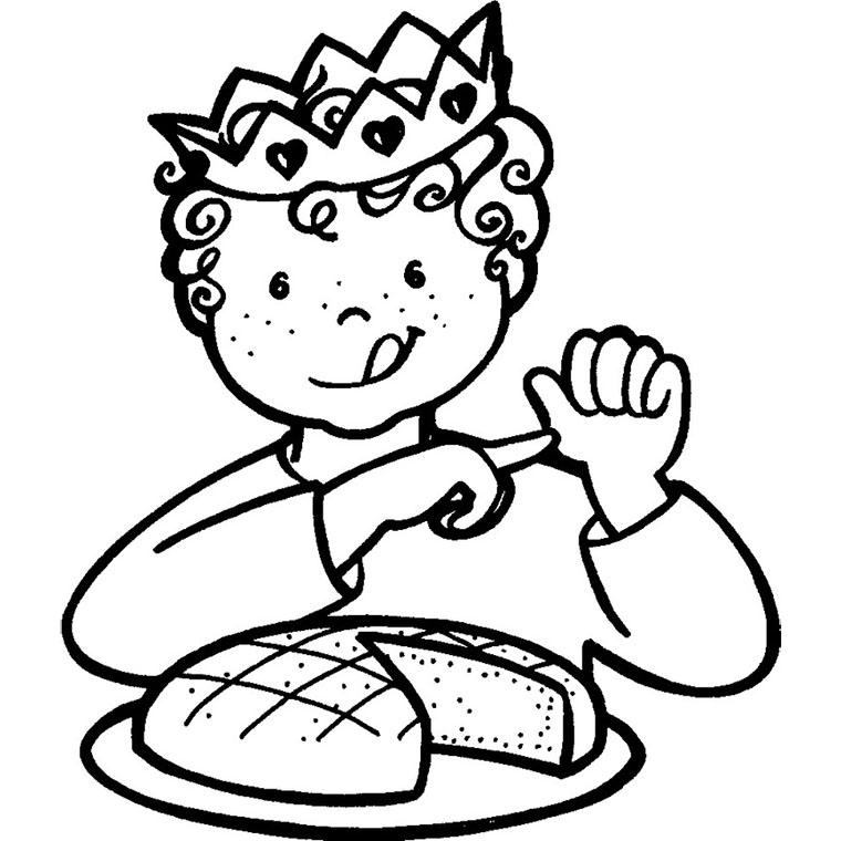 Coloriage Garçon Mange Une Galette Des Rois à Imprimer