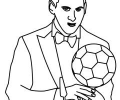 Coloriage Messi ballon d'or