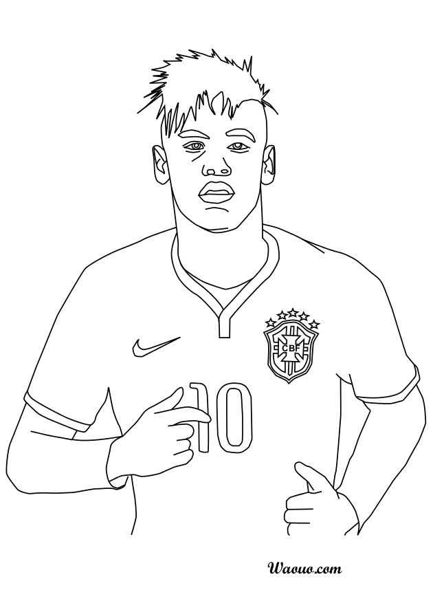 Line Art Action Photo : Coloriage neymar au brésil à imprimer et colorier