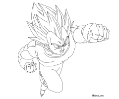 Coloriage Vegeta Super Saiyen Divin