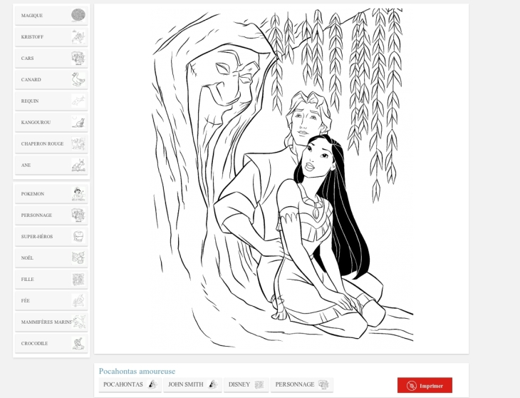 Coloriages info pocahontas