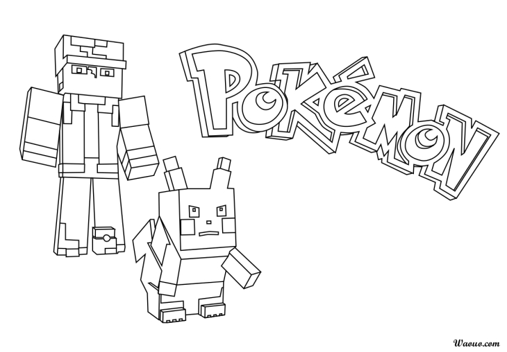 Coloriage Minecraft pokemon