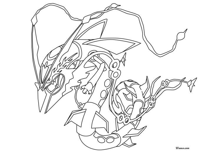 Rayquaza : Coloriage Méga-Rayquaza Pokemon à imprimer