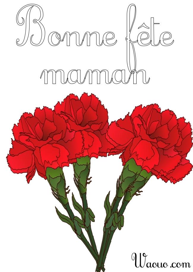 Coloriage Bonne Fête Maman Avec Des Fleurs à Imprimer Et