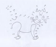 Coloriage point à relier chat