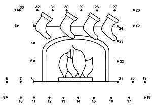 Coloriage point à relier cheminée
