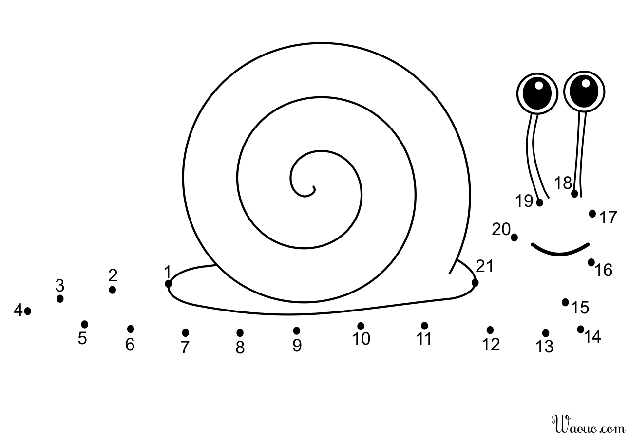 Coloriage point à relier escargot à imprimer et colorier