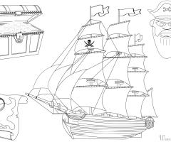 Coloriage bateau et tresor de pirate