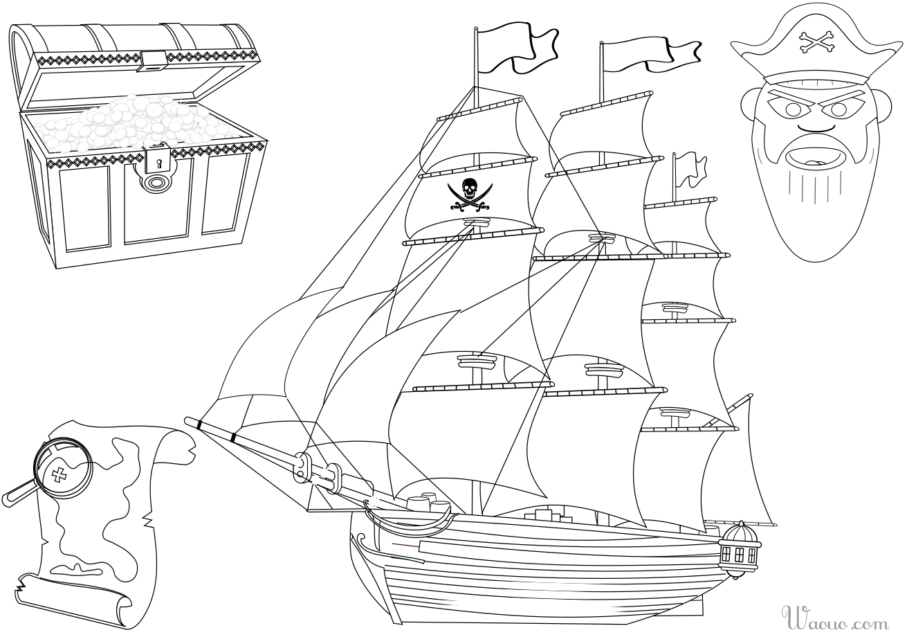 Coloriage bateau et tr sor de pirate imprimer et colorier - Dessin petit bateau ...