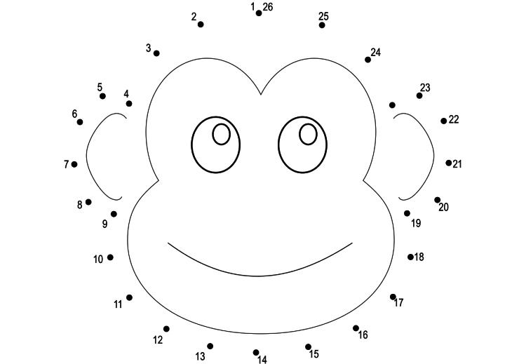 Coloriage point à relier singe