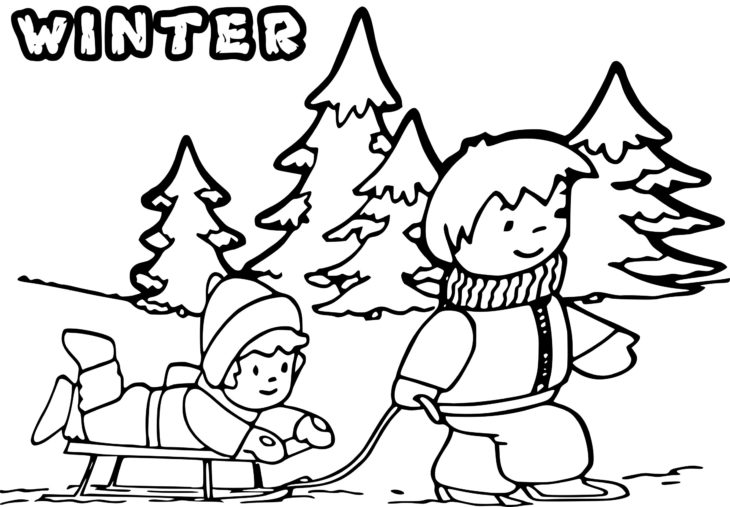 Coloriage enfant sous la neige